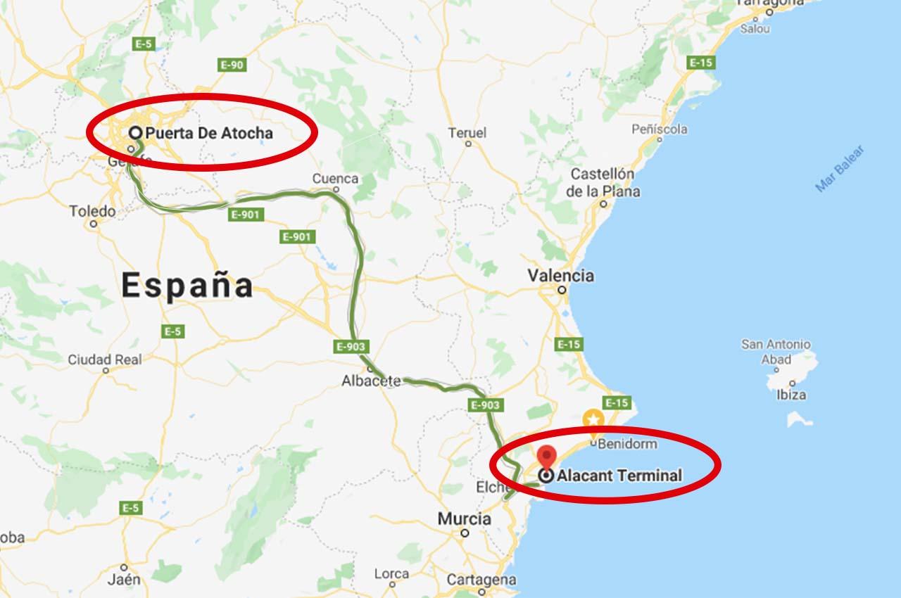 ruta que hace el ave desde Madrid hasta Benidorm
